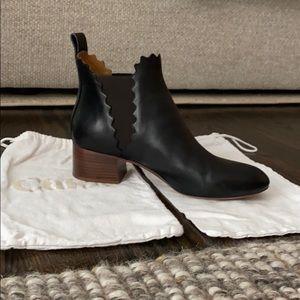 Chloe 'Lauren' Black Leather Ankle Boot